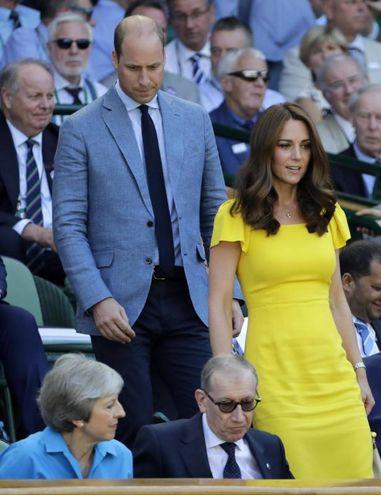 Il principe William e Kate Middleton alla finale maschile di Wimbledon 2018 (Ansa)