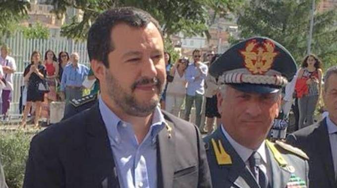 Matteo Salvini a Fermo durante l'inaugurazione della questura (Ansa)