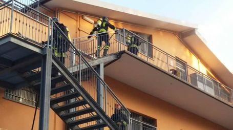 I vigili del fuoco cercano di domare le fiamme (foto Zeppilli)