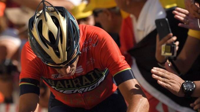 Vincenzo Nibali dopo la caduta al Tour (LaPresse)