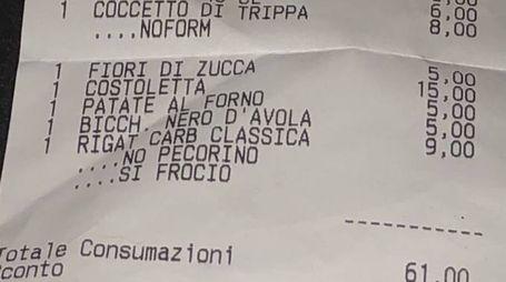 Lo scontrino omofobo del ristorante di Roma (Dire)