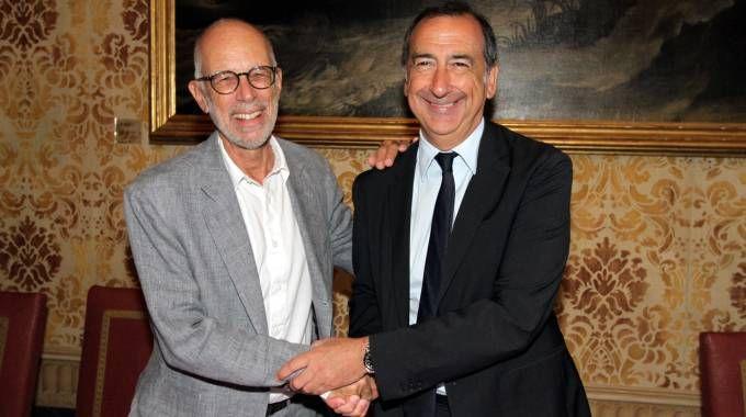 Gabriele Salvatores con il sindaco Beppe Sala (Newpress)