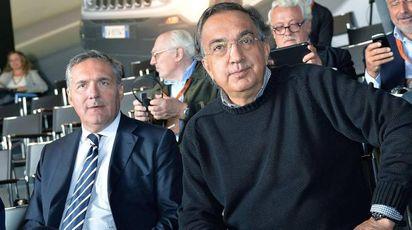 Alfredo  Altavilla e Sergio Marchionne in una foto del 2014 (Ansa)