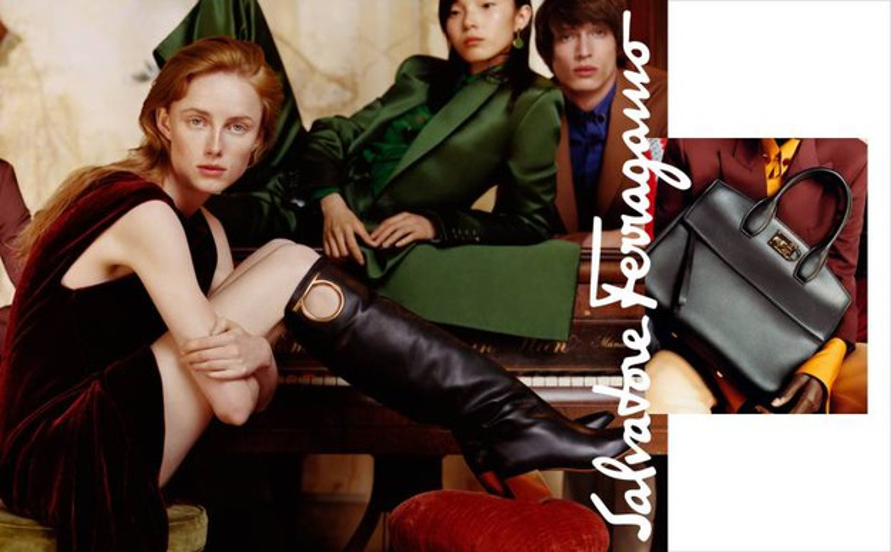 Risultati immagini per Ferragamo, Stella Tennant testimonial. Eleganza aristocratica nella nuova collezione FOTO