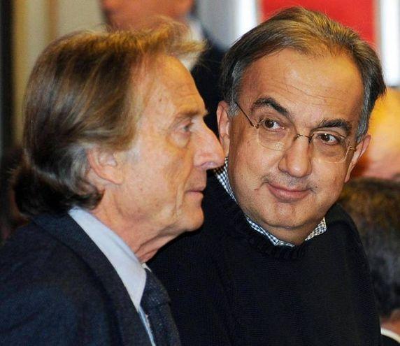 Sergio Marchionne e Luca Cordero di Montezemolo (Ansa)