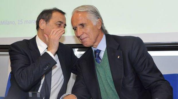 Giuseppe Sala e Giovanni Malagò (foto Newpress)