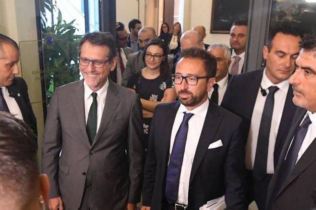 Il ministro Alfonso Bonafede e Virginio Merola  (Foto Schicchi)