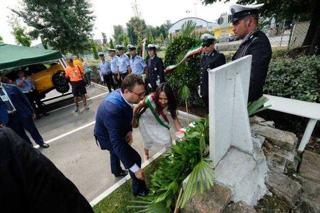 La cerimonia di commemorazione dei tassisti vittime della strage alla stazione alla Cotabo (FotoSchicchi)