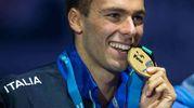 L'oro 1500 metri stile a Budapest nel luglio 2017 (foto LaPresse)