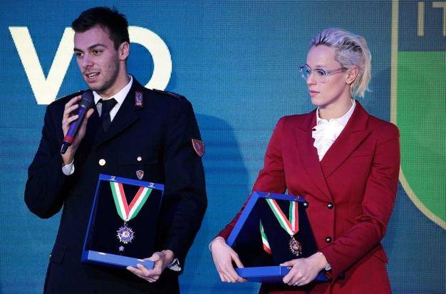Con Federica Pellegrini nella Cerimonia di consegna dei Collari d'oro al merito sportivo (foto LaPresse)