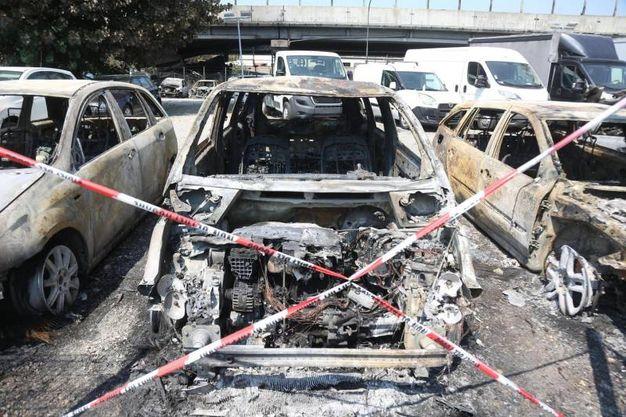 A fianco del ponte ci sono due concessionarie: anche le auto nei piazzali hanno preso fuoco