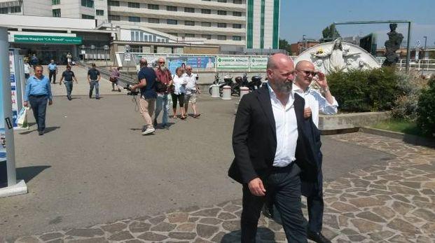 Stefano Bonaccini dopo la visita all'ospedale Maggiore