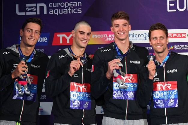 Luca Dotto, Ivano Vendrame, Lorenzo Zazzeri e Alessandro Miressi sul podio (Lapresse)