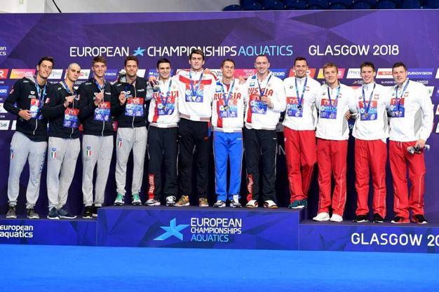 Il podio della staffetta: argento per Luca Dotto, Ivano Vendrame, Lorenzo Zazzeri and Alessandro Miressi (Lapresse)