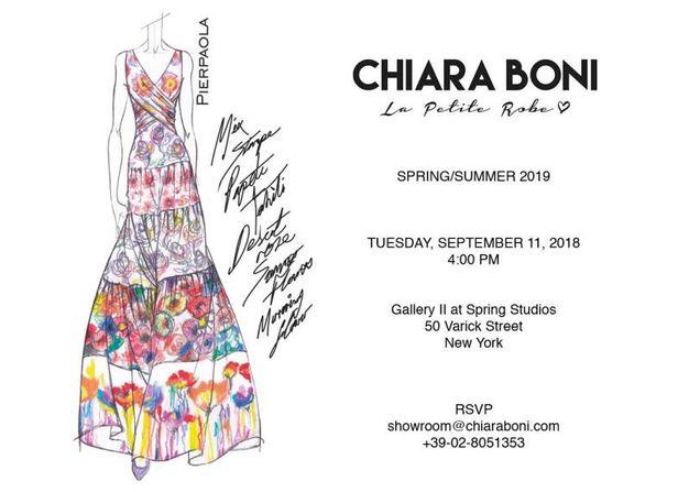 Invito prossimo défilé Chiara Boni La Petite Robe a New York, l'11 settembre 2018