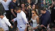 Jennifer Lopez e il fidanzato Alex Rodriguez a Capri (Ansa)
