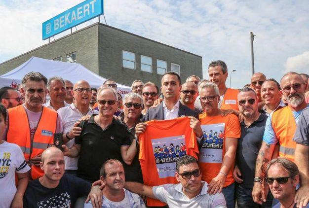 Il ministro Di Maio incontra i lavoratori della Bekaert a Figline Valdarno (foto Riccardo Germogli))