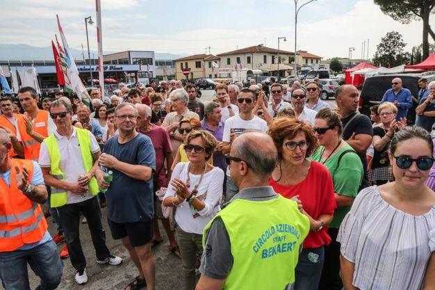 Il ministro Di Maio incontra i lavoratori della Bekaert a Figline Valdarno, Firenze (foto Riccardo Germogli)