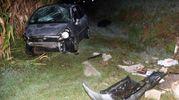 L'auto guidata dalla madre è uscita di strada ed è finita nella scarpata (foto Businesspress)