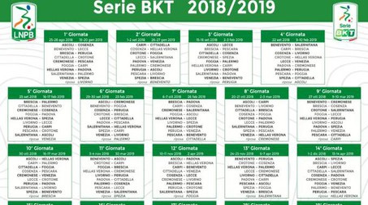 Il calendario della Serie B 2018/2019 (Dal sito Legab)