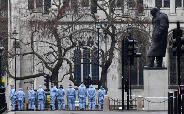 Polizia schierata in Parliament Square (Ansa)