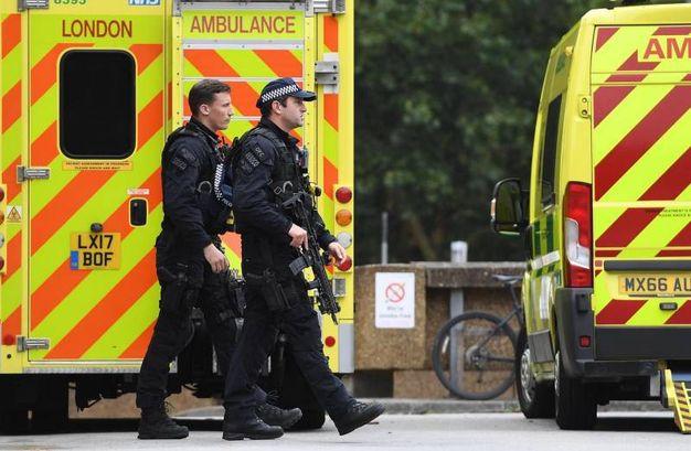 Agenti di polizia e ambulanze (Ansa)