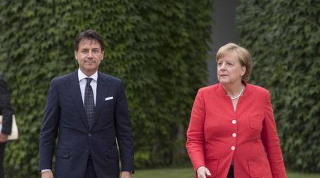 Giuseppe Conte e Angela Merkel a Berlino lo scorso giugno (Ansa)