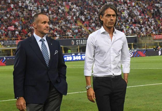 Filippo Inzaghi col presidente Saputo (foto Schicchi)