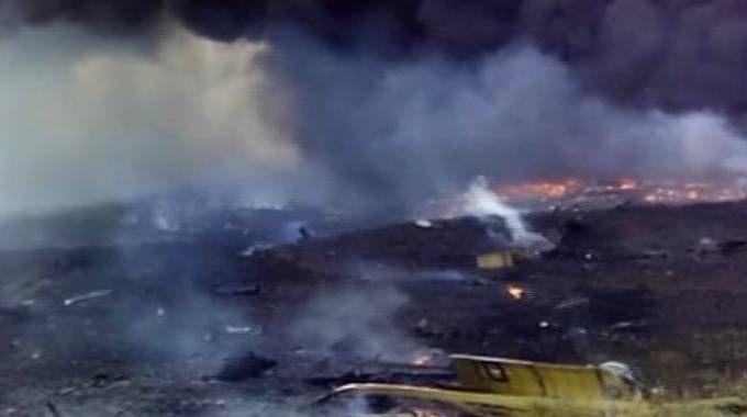 Un fermo immagine del video amatoriale del volo della Malaysia Airlines abbattuto in Ucraina (Ap)
