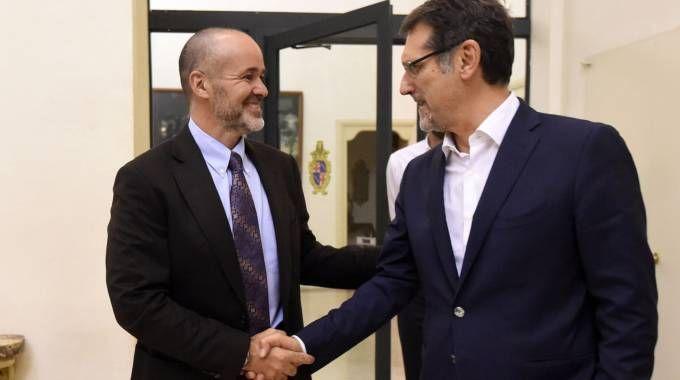 Il patron del Bologna Saputo e il sindaco Merola