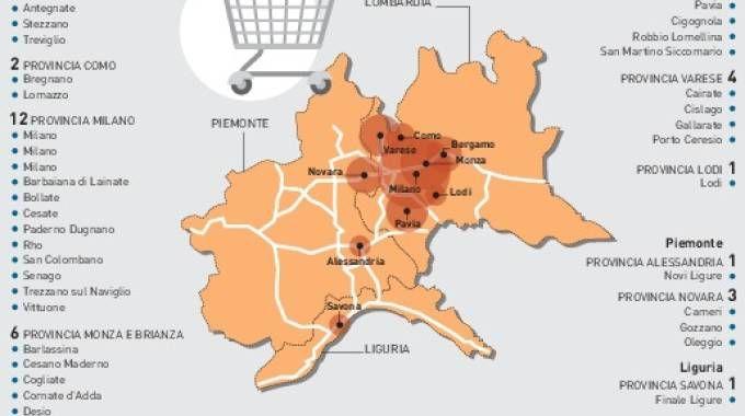 La mappa dei punti vendita in Lombardia