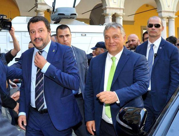 Matteo Salvini e Viktor Orban (Newpress)