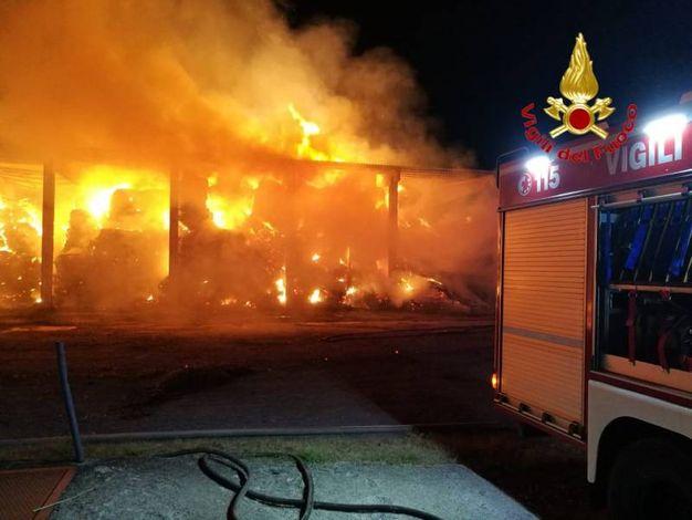 Lentate sul Seveso, incendio in un'azienda agricola
