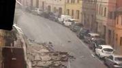 Muro crollato via Roma dopo la bomba d'acqua (Foto Binci)