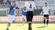 Spezia-Brescia, Morosini esulta dopo il gol del 2-2 (foto Lapresse)