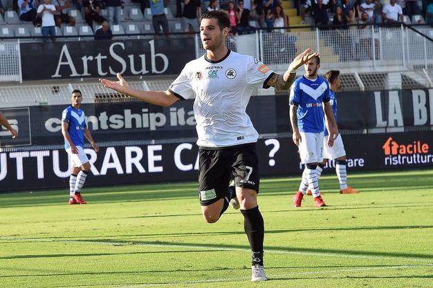 Spezia-Brescia, Pierini esulta dopo il gol del 2-1 (foto Lapresse)