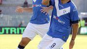 Spezia-Brescia, Donnarumma esulta dopo il gol dello 0-1 (foto Lapresse)