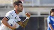 Spezia-Brescia, Pierini esulta dopo il gol del 1-1 (foto Lapresse)