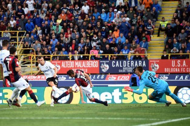 Bologna-Inter,  Perisic realizza il gol dello 0-3 (foto Lapresse)