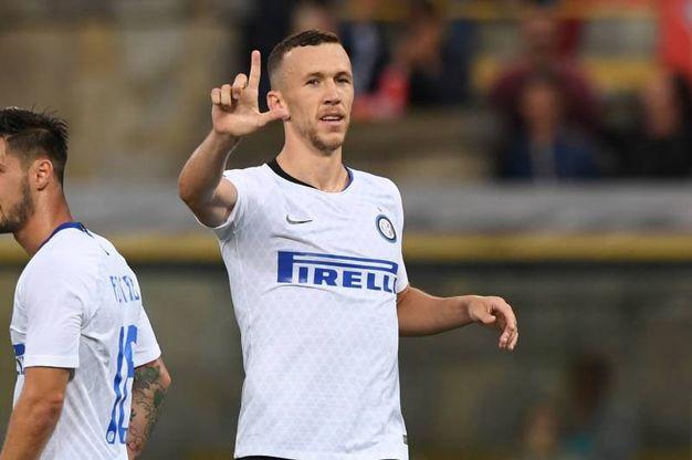 Bologna-Inter,  esultanza di Perisic dopo il gol dello 0-3 (foto Lapresse)