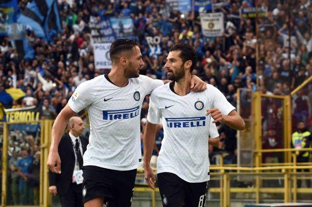 Bologna-Inter,  Candreva esulta dopo il gol dello 0-2 (foto Lapresse)