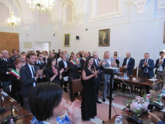"""Urbino, consiglio comunale per Marica Branchesi che diventa """"Ambasciatrice di Urbino nel mondo"""" (Foto Lara Ottaviani)"""