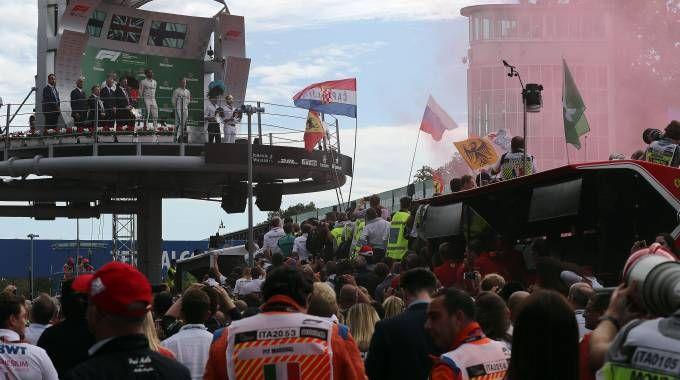 Il podio: Lewis Hamilton primo, Kimi Raikkonen secondo e Valtteri Bottas terzo
