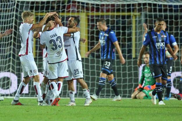 Atalanta-Cagliari, Barella esulta dopo il gol dello 0-1 (foto Lapresse)