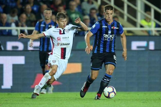 Atalanta-Cagliari, Barella segna il gol dello 0-1 (foto Lapresse)