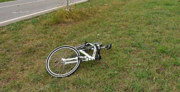 La bici riversa nel prato dopo lo schianto 8foto Artioli)
