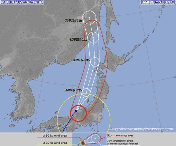 L'area colpita in Giappone dal tifone Jebi (Ansa)