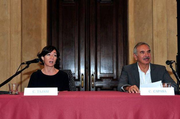 Carlo Capasa e Cristina Tajani alla presentazione della Milano Fashion Week (Omnmilano)