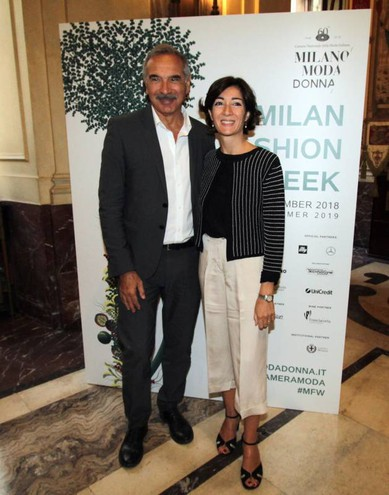Carlo Capasa e Cristina Tajani alla presentazione della Milano Fashion Week (Newpress)