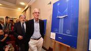 L'archistar Renzo Piano presenta il suio progetto per il ponte di Genova (Ansa)